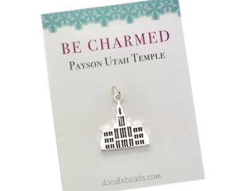 Payson Temple, LDS Temples, Payson Utah Temple charm, Mormon Temple, LDS Wedding, temple charm bracelet, temple Necklace or temple keyring
