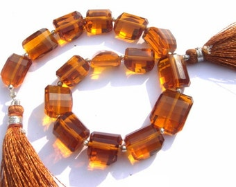 8 Inches -  AAA Honey Quartz Step Cut Faceted Nuggets Size 14x9 - 16x12mm approx