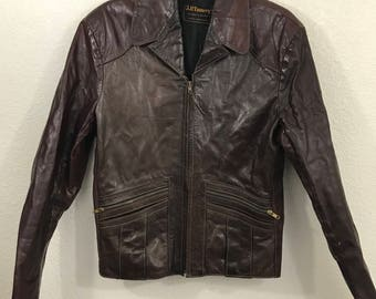 Nice Vintage 60's 70's Hippie Boho Fitted Brown Leather Zippered Jacket sz 44