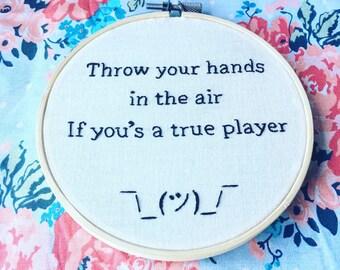 Notorious BIG Biggie Lyrics Hand Embroidery Hoop Shrug Guy Emoji
