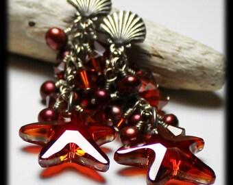 Amphitrite... Handmade Jewelry Earrings Beaded Starfish Seashell Beach Sea Silver Pearls Crystal Red Magma Burgundy Post Dangle