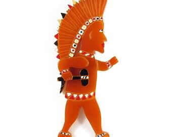 Reworked Vintage Bakelite Carved Indian Figure Brooch c. 1950