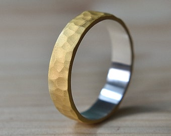 Mens Hammered Gold Wedding Rings. Mens Gold Plated Ring. 6mm Mens Gold Plated Wedding Ring. Hammered Gold Ring Mens