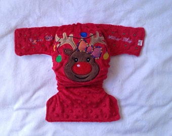 Modern Cloth Nappy Red Reindeer