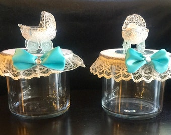 Candy container for baby boy shower with a crystal basinet. Package of two candy containers.