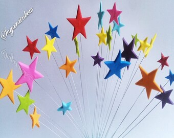 24 Edible sugar stars on wires wired cake decorations multicolour cake cupcake toppers