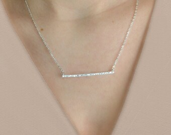 Diamond Bar Necklace, Crystal CZ Bar Necklace, Sterling Silver, Gold, Rose Gold, Delicate Necklace, bridal necklace, bridesmaid