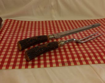 Bakelite Carving Set With Deer Carving on Handles
