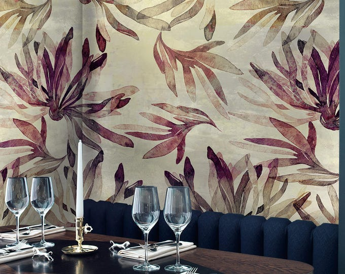 Vintage Tropical Forest Wallpaper, Vintage Textured Wallpaper