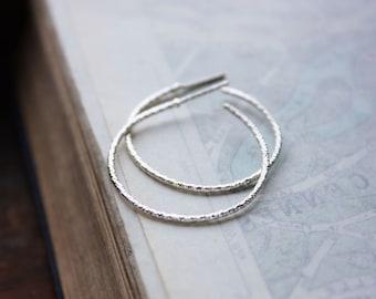 silver hoops, faceted sterling silver hoop earrings
