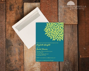 Dual Color Flower Wedding Invitation with Envelope - 5x7
