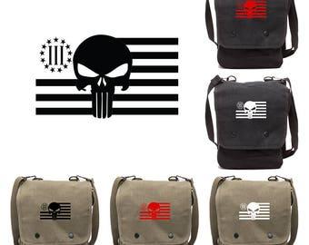 Three Percenter Punisher Canvas Cross body Travel Map Bag Case