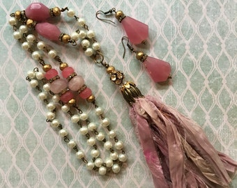 Pearls and roses: tassel necklace with vintage reclaimed pink sari fabric, vintage assemblage necklace and earring set, repurposed jewelry