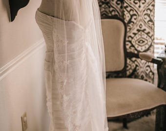 Waltz Length Wedding Veil, Bridal Veil with Lace edge, Wedding Vail,Wedding Viel, Veil with Blusher