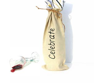 Wine bottle bag, Celebrate, wine tote bag, wine totes, wine sleeve, gift bag, hostess gift, our first house