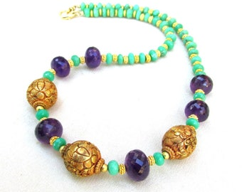 Chrysoprase, Amethyst & Carved Gold Tibetan Beads - Handmade Necklace - Natural Gemstone Jewelry