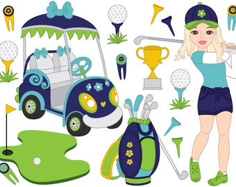 Golf Clipart - Digital Vector Golf, Girl, Golf Car, Golf Bag, Golf Club, Golf Clip Art