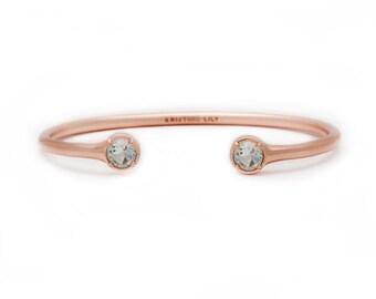 Gemstone Bangle - Rose Gold Bangle - Adjustable / Malleable Bangle Cuff Bracelet - Natural Blue Topaz Gemstones