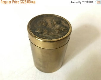 ON SALE Vintage Mid Century Brass Franciscvs Avg. Maria Theresa Avg Coin Medallion set in Cylindrical Container
