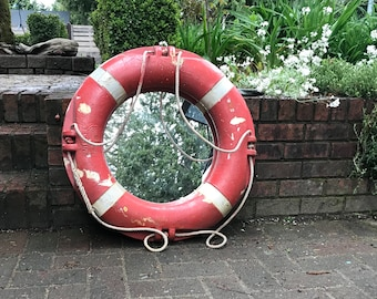 Vintage Life Preserver Mirror Float Buoy Ring With Rope Antique Beach House Coastal Nautical Decor by CastawaysHall Ready to Ship