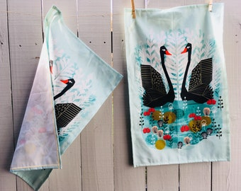 Black Swan Tea Towel, Hostess Gifts, Handmade Linen Tea Towel, Ballet Dancer