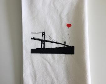 Portland Oregon St. John's Bridge tea towel - misprint
