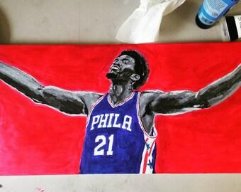 Trust The Process / Acrylic Painting / Art / Wall Art / Original Painting / Home Decor /Bastketball / NBA Jersey / Vintage / Sports Portrait