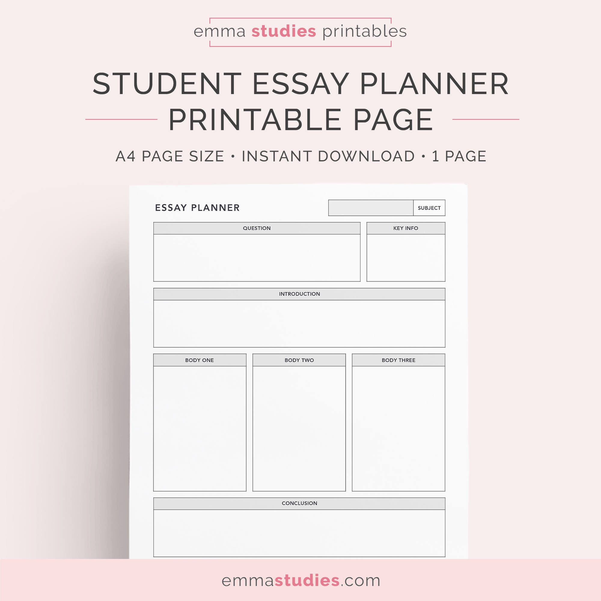 Essay planner for students college university and high