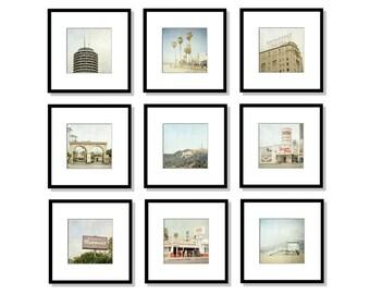 SALE, Los Angeles Print Set, Hollywood, California Photography, Malibu, Beach, Gallery Wall, Set of 9, Square, 5x5, 8x8, 5x7, 8x10, 12x12