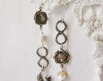 Engraved Chinese Earrings, Chandelier earrings, Silver earrings, Asymmetric earrings, owl and ladybug jewelry