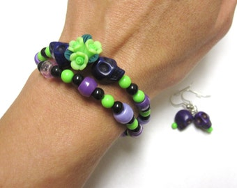 Sugar Skull Bracelet And Earring Gift Day Of The Dead Jewelry