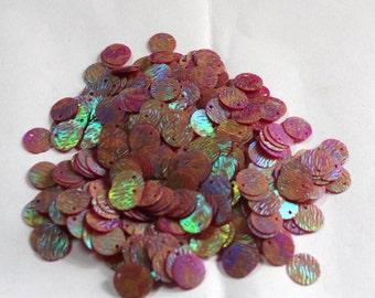 100 Metallic Pink Color/Round Sequins /3D Lines Texture/ KRS654