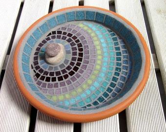 Heather Ripple Mosaic Garden Bird Bath Ornament