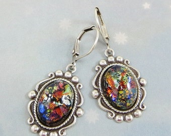 Black Fire Opal Earrings Dangles Black Opal Earrings RARE Vintage Glass Jewels Fantasy Mystical Jewelry