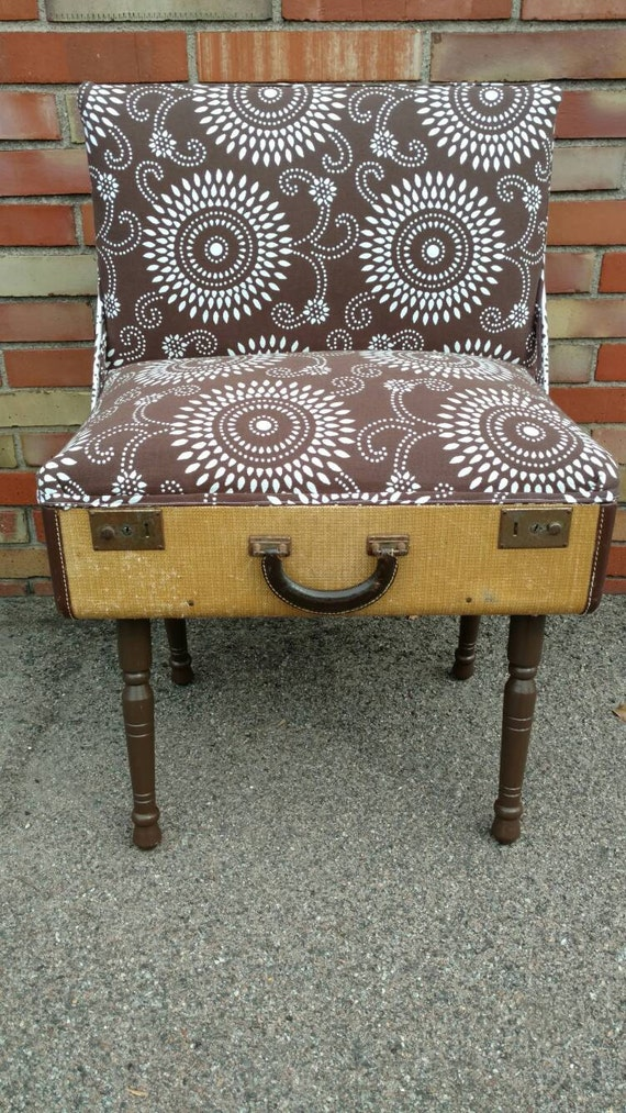 Accent Chair - Upcycled Repurposed Vintage Suitcase Chair with Woven Texture and Brown Mandala-Style Fabric