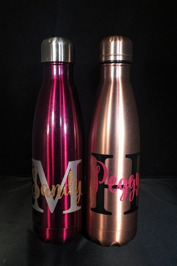 NEW S'well Colors -Big Initial and Name S'well Bottle W/ Glitter - Bridesmaids, Yoga, Teacher, Sorority Swell Bottle