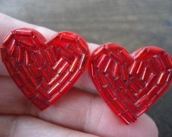 Red Heart Clip On Earrings