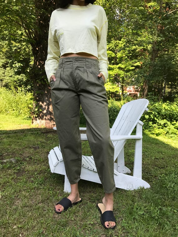 High Waist Cotton Chinos 26 27 28 / tapered cropped ankle