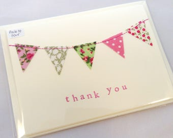 Hand Made Thank You Cards, Bunting, Hand Stamped, Pack of Four with Envelopes, Sewn