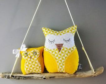 Pair of owls nursery decor mobile child baby birth gift