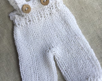 Waldorf Doll Clothes - Knitted White Color Overalls -fits 8 inch dolls
