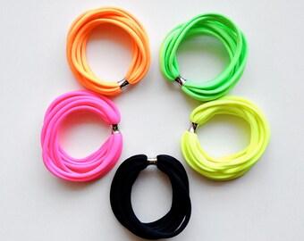 Bracelet stack, textile bracelets, neon bracelets, boho bracelet, bangles set, bracelet set, friendship bracelets, soft bracelets - set of 5