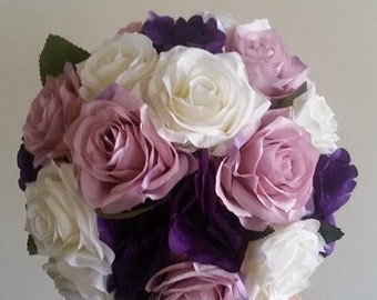 Pink, purple and white rose bridal bouquet