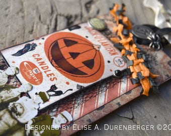 Mixed Media Halloween Keepsake Tag: Festive Jack-o-Lantern Fellas