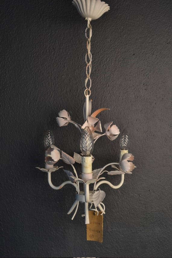 Painted toleware chandelier with pink flowers