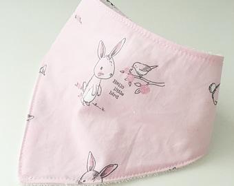 Pink bunny rabbit dribble bib
