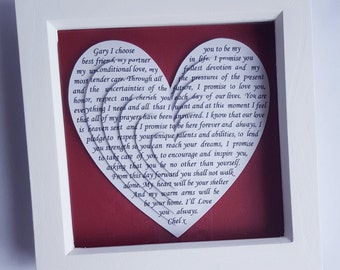 Song lyrics gift, Anniversary gift, wedding gift, framed wedding vows, first dance song, poem, framed reading, unique gift idea