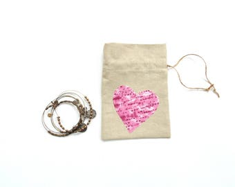 Heart gift bag, linen fabric, Happy Birthday bag, appliqued flower, pretty gift bag, drawstring pouch