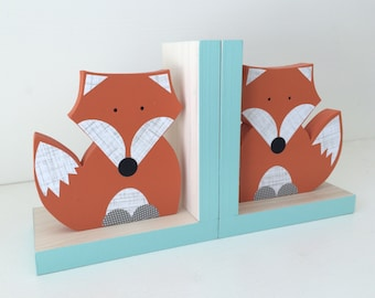 Fox Bookends, Orange and Aqua Blue, Woodland Nursery, Woodland Kids Decor, Children's Bookends, Fox Nursery, Forest Themed Nursery