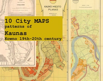 Digital 10 City MAPS patterns of Kaunas Kowno 19th-20th century - Download. PRINTABLE map.High resolution map. High quality maps. Large maps
